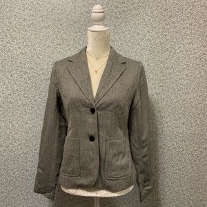❤️Isaac Mizrahi Wool Gray White Two Button Blazer